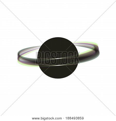 Planet in space sign. Vector. Colorful icon shaked with vertical axis at white background. Isolated.