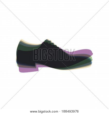 Men Shoes sign. Vector. Colorful icon shaked with vertical axis at white background. Isolated.