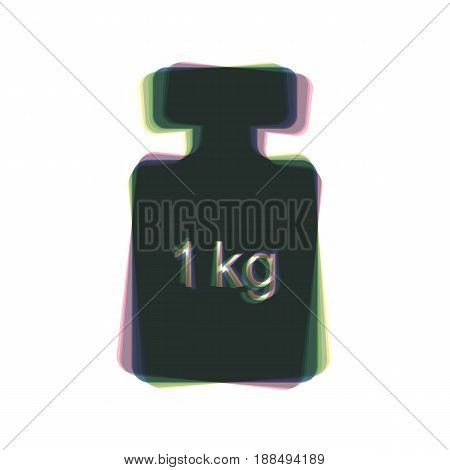 Weight simple sign. Vector. Colorful icon shaked with vertical axis at white background. Isolated.