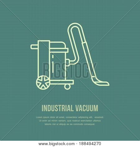 Industrial vacuum cleaner flat line icon, logo. Vector illustration of household appliance for housework equipment shop or cleaning service.