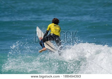 Ericeira Portugal. 20 May 2017.Surfer in Ribeira de Ilhas in Ericeira.Ribeira de Ilhas beach is Part of the World Surfing Reserve and its right outside Ericeira Village. Ericeira Portugal. photography by Ricardo Rocha.