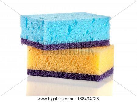 sponges for dishwashing isolated on a white background.