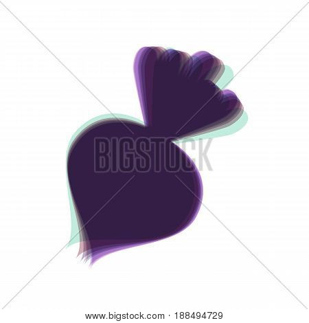 Beet simple sign. Vector. Colorful icon shaked with vertical axis at white background. Isolated.