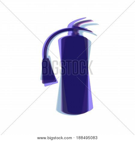 Fire extinguisher sign. Vector. Colorful icon shaked with vertical axis at white background. Isolated.