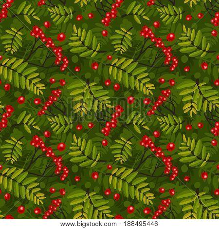 Rowan seamless pattern. Rowan-berries and leafs ornament.