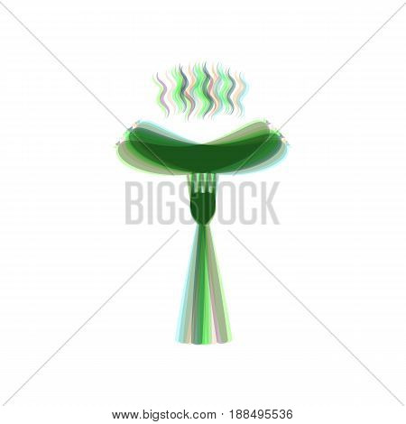 Sausage on fork sign. Vector. Colorful icon shaked with vertical axis at white background. Isolated.