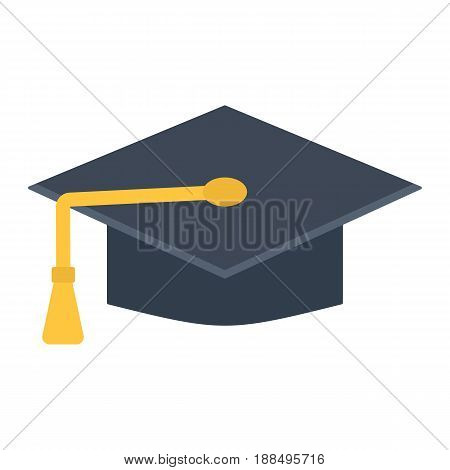 Graduation cap flat icon, Education and knowledge, vector graphics, a colorful solid pattern on a white background, eps 10.