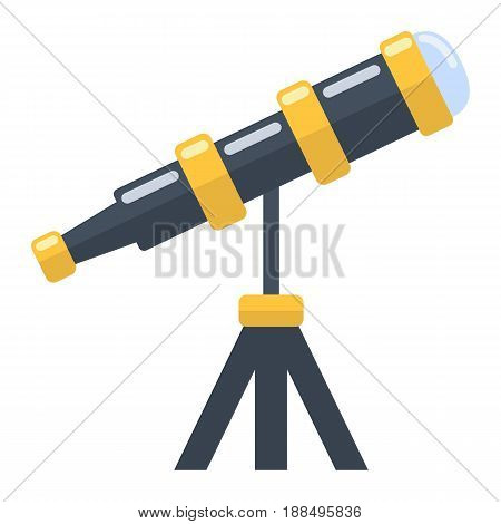 Telescope flat icon, astronomy and science, vector graphics, a colorful solid pattern on a white background, eps 10.
