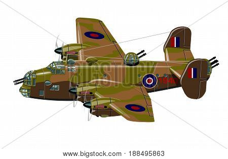 Vector cartoon retro bomber plane. Available EPS-10 vector format separated by groups for easy edit