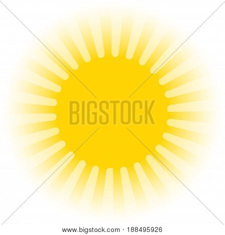 Stock yellow warm sun icon - object vector illustration.