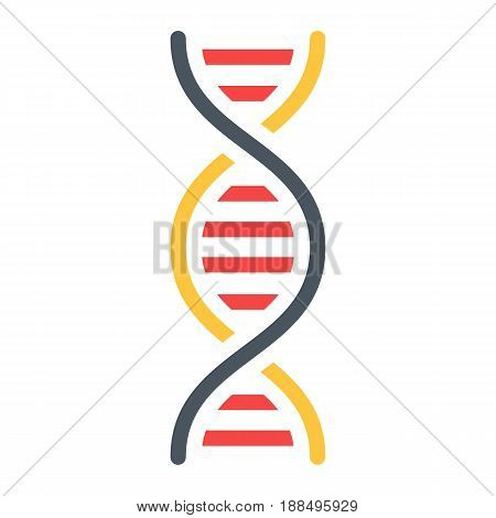 DNA flat icon, science and biology, vector graphics, a colorful solid pattern on a white background, eps 10.