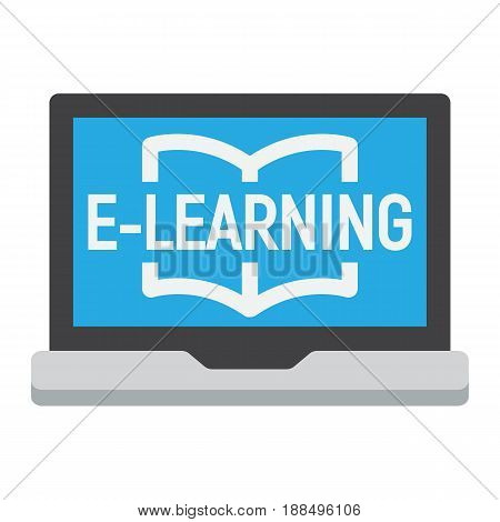 E learning flat icon, education and online, vector graphics, a colorful solid pattern on a white background, eps 10.