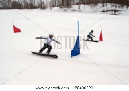 Blurred Background Of Snowboarding Giant Slalom Competitions