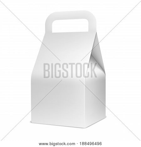 Cardboard food box isolated on white background. Blank white package mock up or template