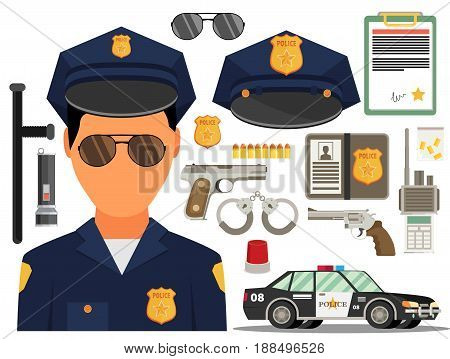 Vector illustration with policeman. Flat style. Elements for infographic.