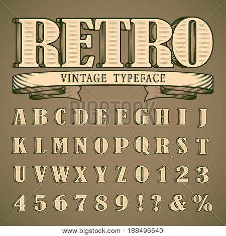Bold retro vintage font, western style design, full alphabet and numbers