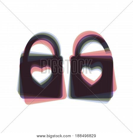 lock sign with heart shape. A simple silhouette of the lock. Shape of a heart. Vector. Colorful icon shaked with vertical axis at white background. Isolated.