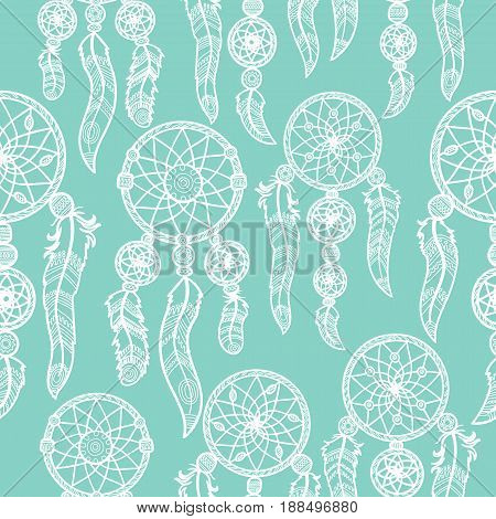 Seamless vector illustration with dream catchers on the tribal seamless background. hand drawn illustration. Vintage background. Geometrical Ethnic Print Ornament