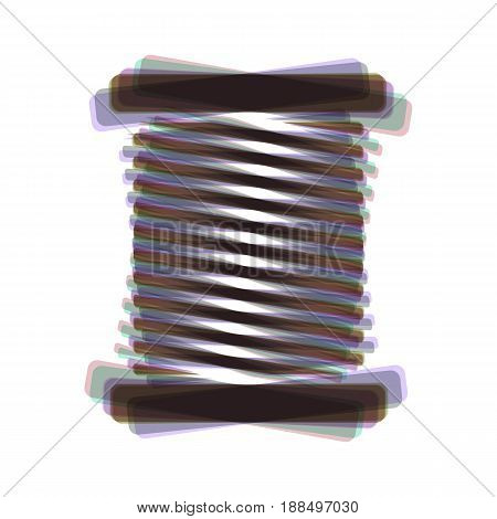 Thread sign illustration. Vector. Colorful icon shaked with vertical axis at white background. Isolated.