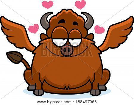 Cartoon Buffalo Wings In Love