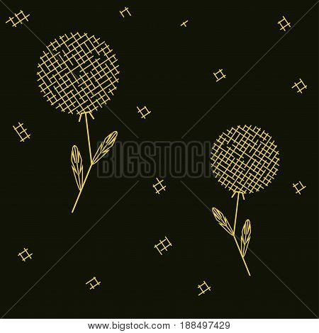 simple dandelions seamless geometrical pattern vector illustration editable colors background is separate layer