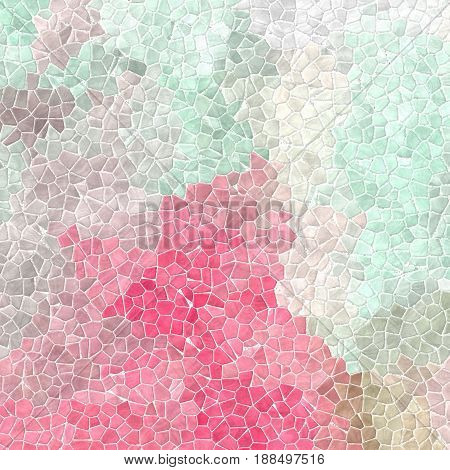 abstract nature marble plastic stony mosaic tiles texture background with white grout - light pink mint green beige and gray colors