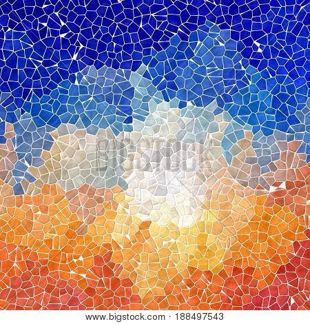 abstract nature marble plastic stony mosaic tiles texture background with white grout - vibrant orange and sky blue colors