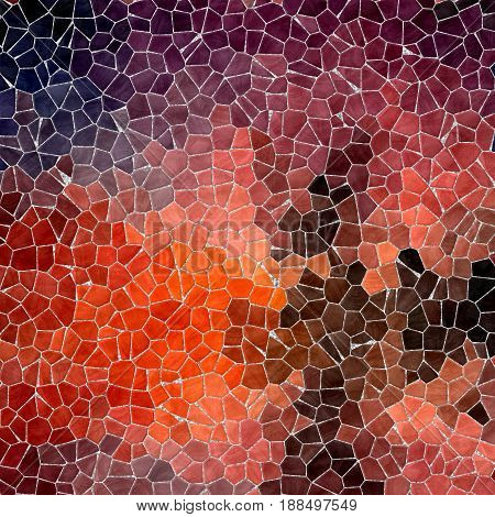 abstract nature marble plastic stony mosaic tiles texture background with gray grout - hot red orange brown and brown colors