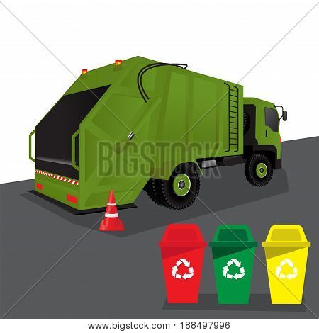 truck for assembling and transportation garbage, vector illustration.