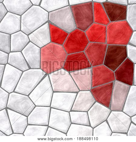 abstract nature marble plastic stony mosaic tiles texture background with gray grout - white and red colors