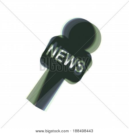 TV news microphone sign illustration. Vector. Colorful icon shaked with vertical axis at white background. Isolated.