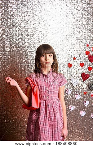 Small Pretty Girl With Fashionable Red Leather Bag