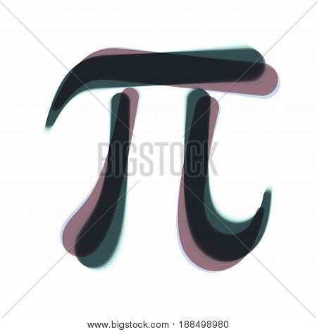 Pi greek letter sign. Vector. Colorful icon shaked with vertical axis at white background. Isolated.