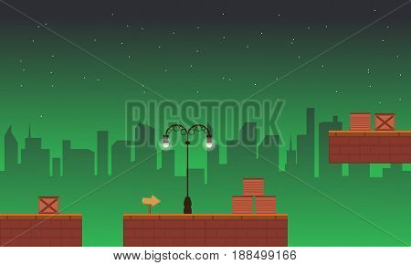 Vector art of game background street style collection stock