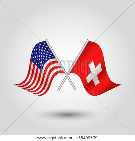 vector two crossed american and swiss flags on silver sticks - symbol of united states of america and switzerland