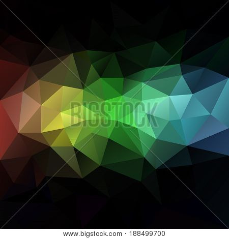 vector abstract irregular polygon background with a triangle pattern in dark spectrum color - rainbow strip in the middle