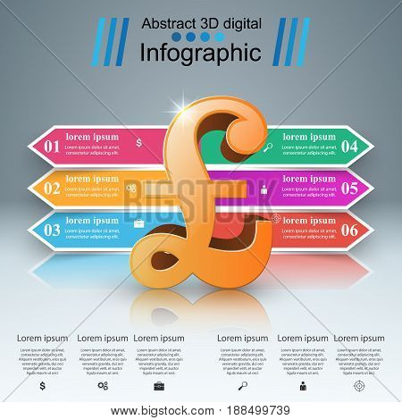 3D infographic design template and marketing icons. British pound, Money icon.