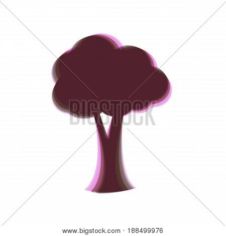 Tree sign illustration. Vector. Colorful icon shaked with vertical axis at white background. Isolated.