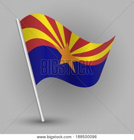 vector waving simple triangle american state flag on slanted silver pole - icon of arizona with metal stick