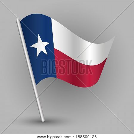 vector waving simple triangle american state flag on slanted silver pole - icon of texas with metal stick