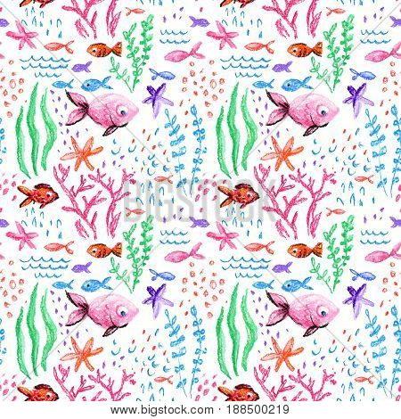 Crayon childlike marin seamless pattern. Underwater sea ocean life childish drawing. Cute whale fishes starfish corals on white background. Hand drawn light pastel illustration