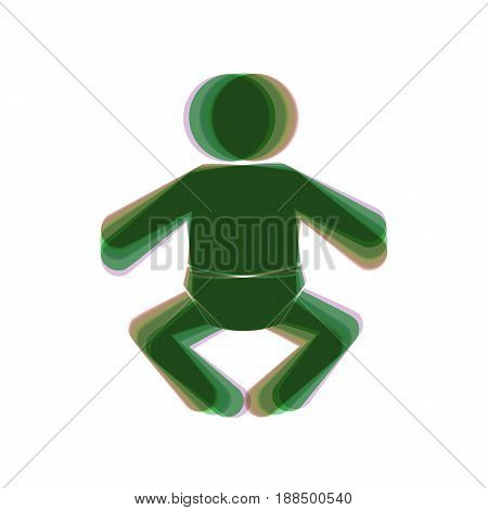 Baby sign illustration. Vector. Colorful icon shaked with vertical axis at white background. Isolated.