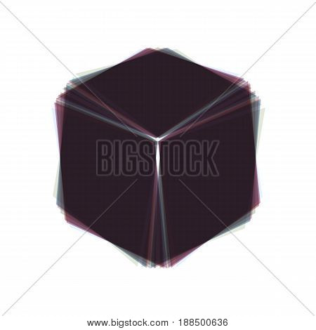 Cube sign illustration. Vector. Colorful icon shaked with vertical axis at white background. Isolated.