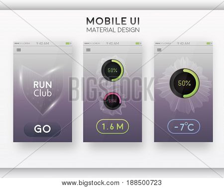Run club. Application on the mobile phone to track the steps, the pedometer. The concept of the interface design of the apps. Vector EPS 10.