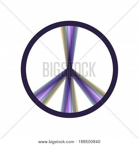 Peace sign illustration. Vector. Colorful icon shaked with vertical axis at white background. Isolated.