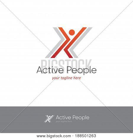 Logo with two red arrows looking like an abstract happy dancing man. Perfect for dance studio, fitness, aerobics or other sports design concept.