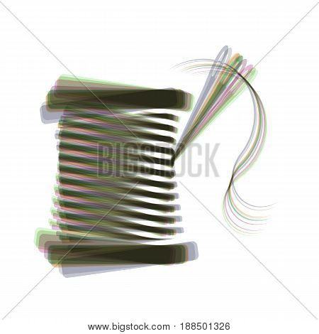Thread with needle sign illustration. Vector. Colorful icon shaked with vertical axis at white background. Isolated.