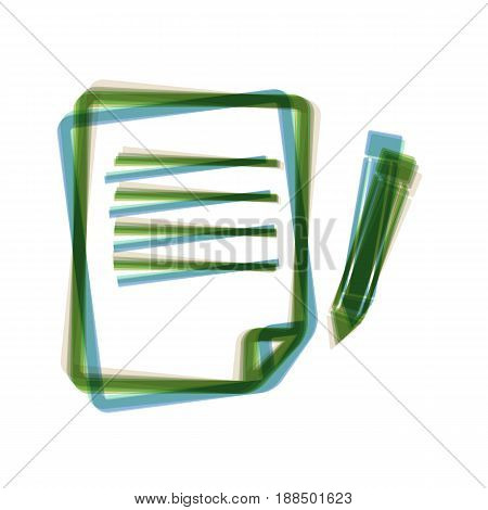 Paper and pencil sign. Vector. Colorful icon shaked with vertical axis at white background. Isolated.