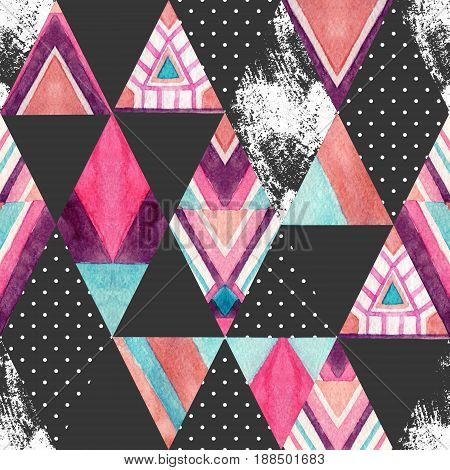 Watercolor ornate rhombuses seamless pattern. Geometric rhombus and triangle shapes with aztec ornament grunge texture polka dot. Hand painted colorful illustration in patchwork style