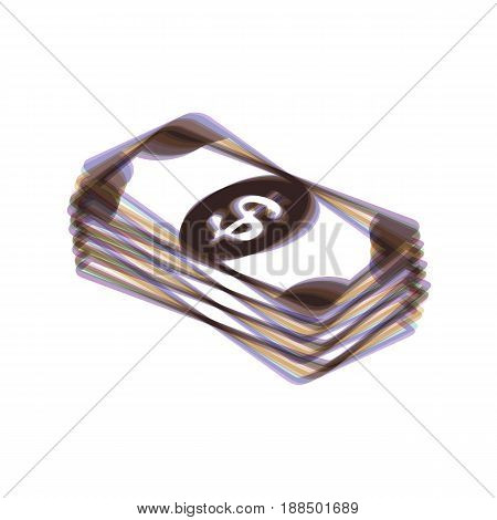 Bank Note dollar sign. Vector. Colorful icon shaked with vertical axis at white background. Isolated.